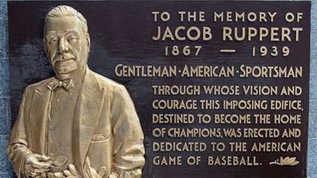 The plaque of Jacob Ruppert in Monument Park
