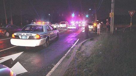 Police investigate the scene near the intersection of