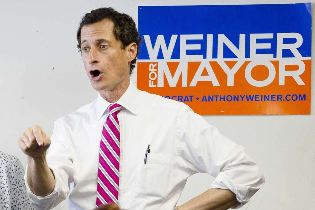 New York City mayoral candidate Anthony Weiner speaks