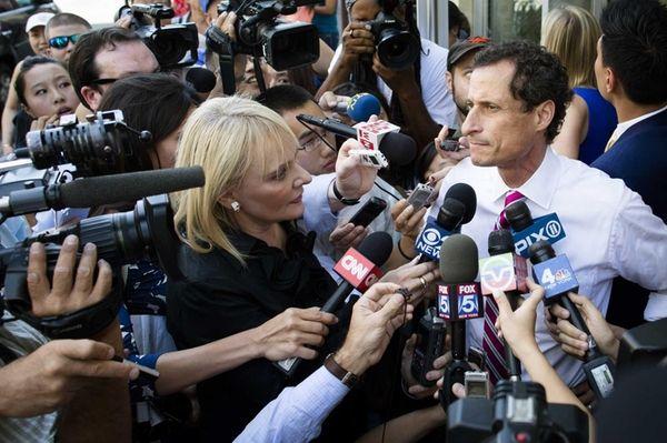 New York City mayoral candidate Anthony Weiner addresses