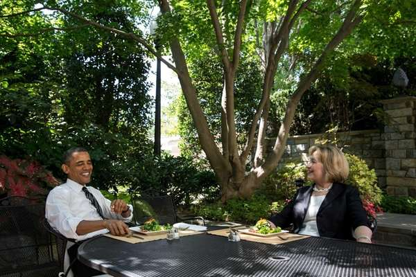 President Barack Obama has lunch with former Secretary