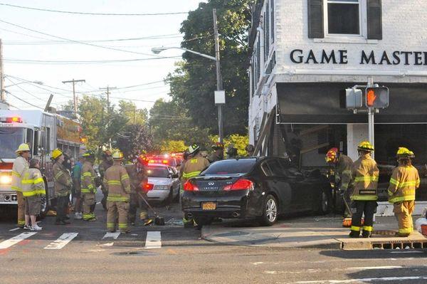 Rescue crews respond to the scene where a