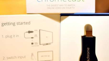 The new Google Chromecast, which can link TV