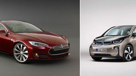 The Tesla Model S, left, starts at $69,900,
