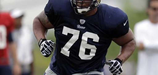 St. Louis Rams tackle Rodger Saffold takes part