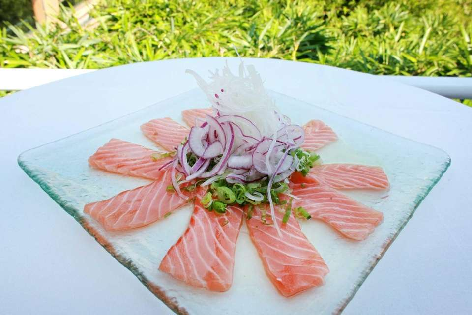 The salmon crudo at Ocean, located in The
