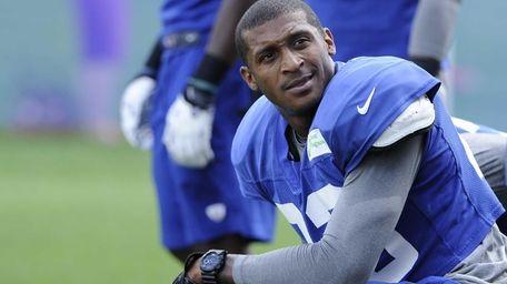 New York Giants cornerback Corey Webster looks on