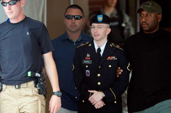 Private First Class Bradley Manning leaves a military