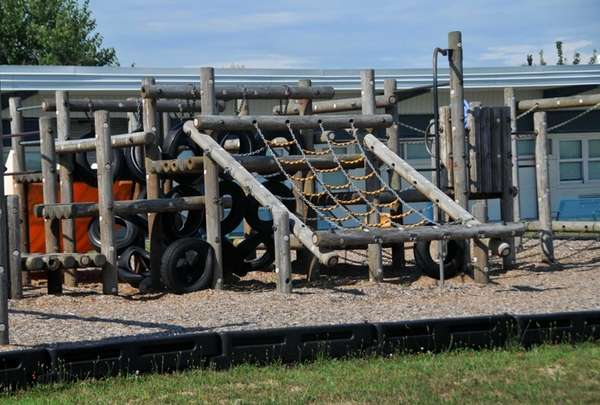 One of two playgrounds on the school property