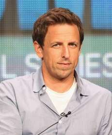 Writer and actor Seth Meyers talks to television