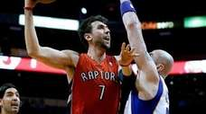 The Toronto Raptors' Andrea Bargnani (7) shoots over
