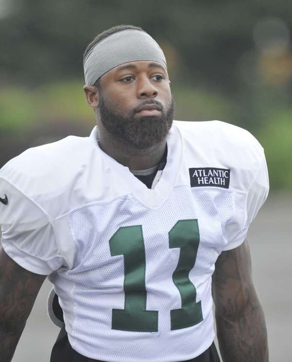Jets wide receiver Jeremy Kerley looks on during