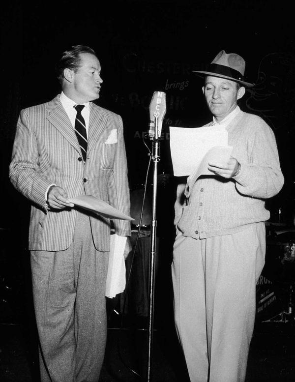 Comedian/actor Bob Hope, left, and actor Bing Crosby