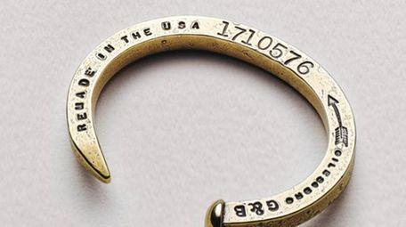 Liberty United skinny spike brass bracelet with bullets