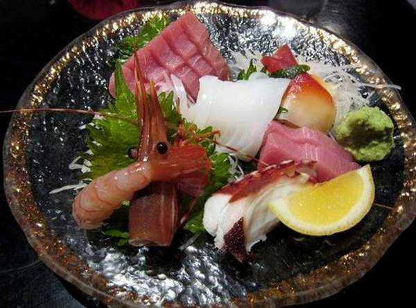 Sashimi served on a plate at Hazuki Japanese
