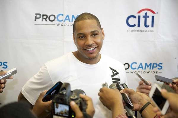 Carmelo Anthony of the Knicks speaks to the