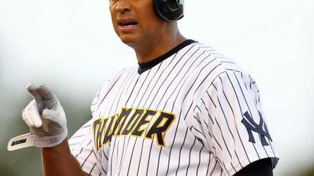 Yankees' Alex Rodriguez talks to his first base