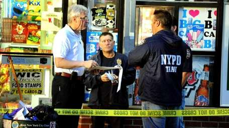 New York City police investigate the scene of