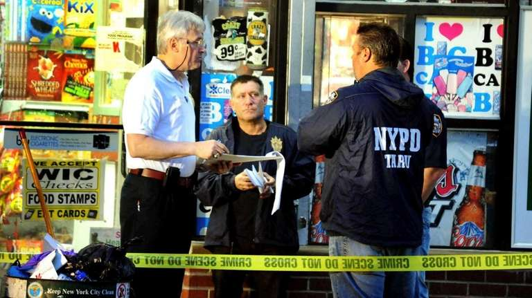 New York City police investigate the scene of
