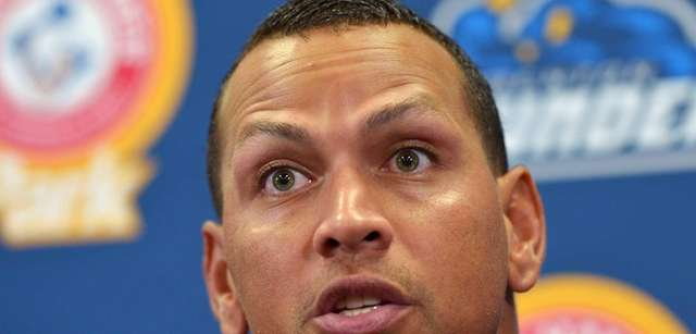 Alex Rodriguez responds to a question from the