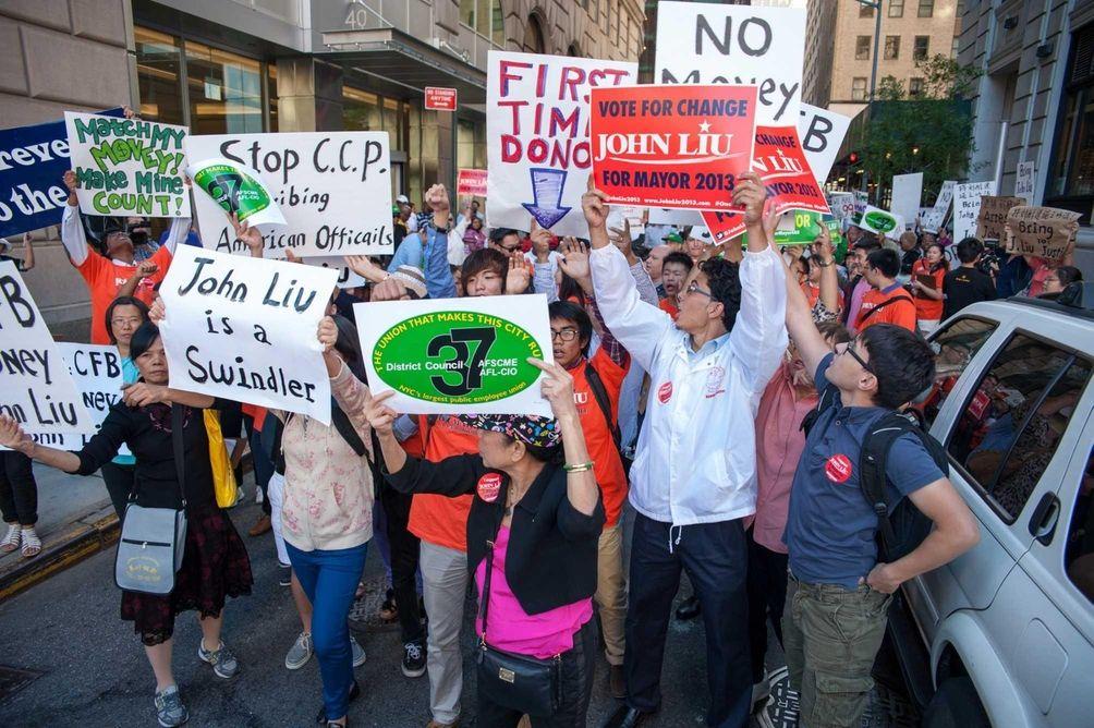 Protesters against Mayoral Candidate John Liu met resistance