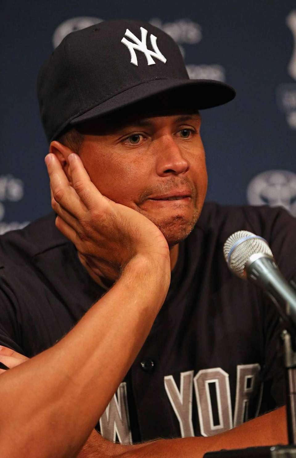 Alex Rodriguez speaks to the media before the
