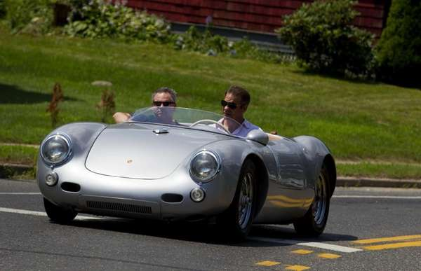 bloomberg automotive critic jason harper right test drives a replica porsche 550 spyder in danbury conn july 17 2013 photo credit bloomberg news