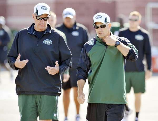 Jets head coach Rex Ryan, left, and special