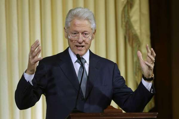 Former President Bill Clinton speaks during the ceremony