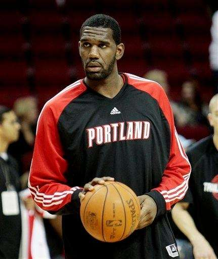 The Portland Trailblazers' Greg Oden warms up during