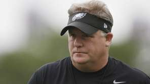 Philadelphia Eagles head coach Chip Kelly walks on
