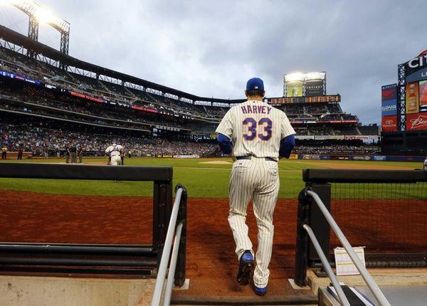 Matt Harvey of the Mets takes the field