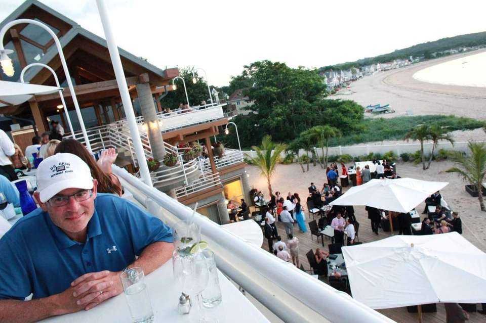 Larry Kramer from Woodbury dines in the outdoor