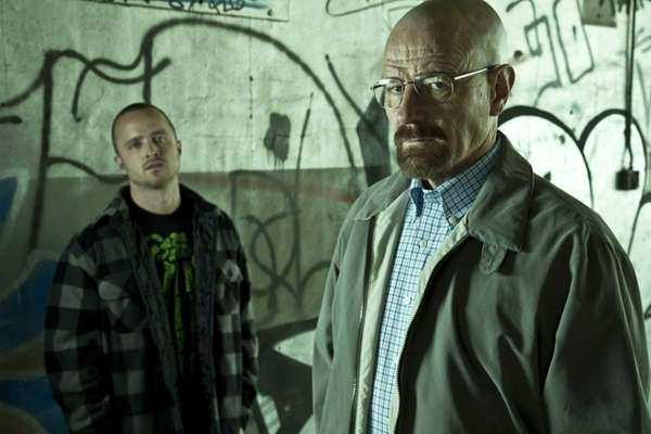 From left, Jesse Pinkman (Aaron Paul) and Walter