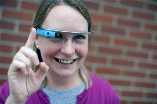 Marianne Kruppa wears a Google Glass device outside