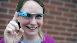 Marianne Kruppa wears a Google Glass device outside
