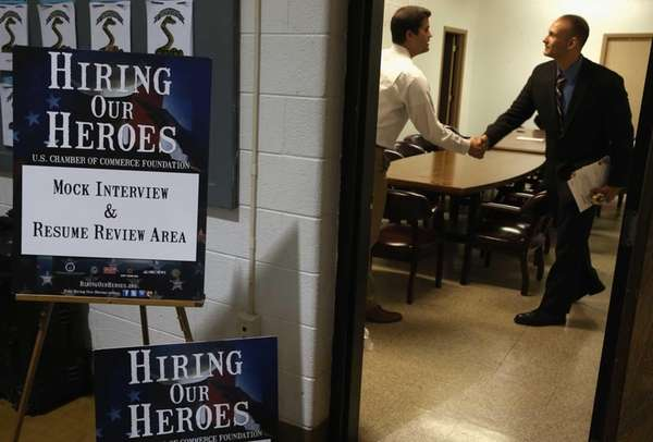 A job seeker participates in a mock interview