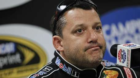 Tony Stewart speaks at a press conference prior