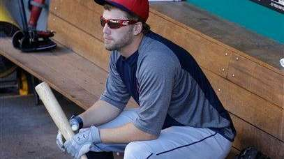 Cleveland Indians infielder Mark Reynolds waits in the