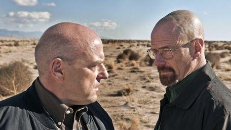Dean Norris as Hank Schrader, left, and Bryan