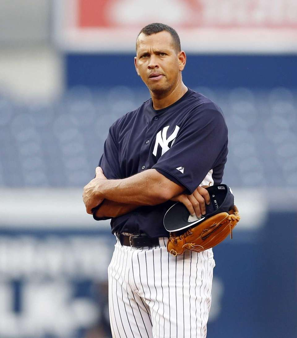 Alex Rodriguez of the Yankees looks on during
