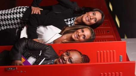 Three Long Island teachers, from left, Linda Beyer,