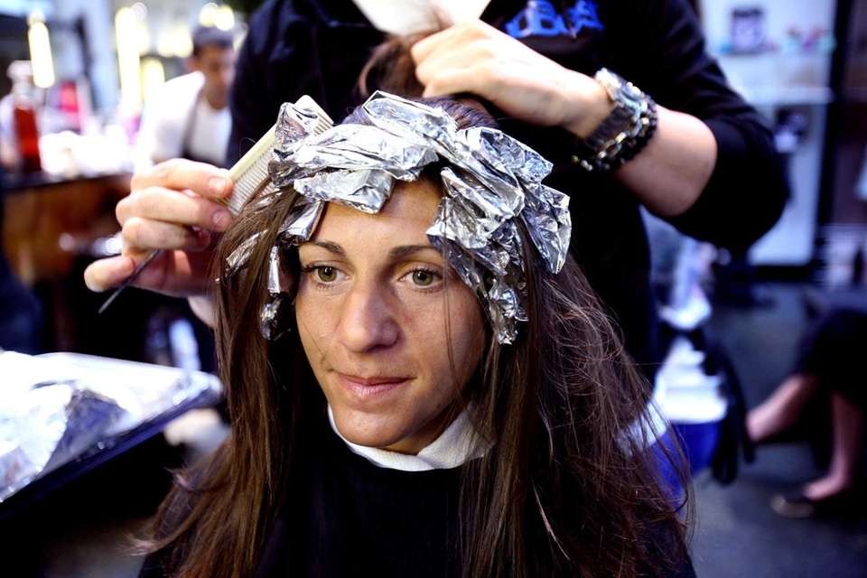 Teacher Michelle Crennan gets highlights done at Nubest
