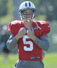 Jets quarterback Matt Simms is seen during training