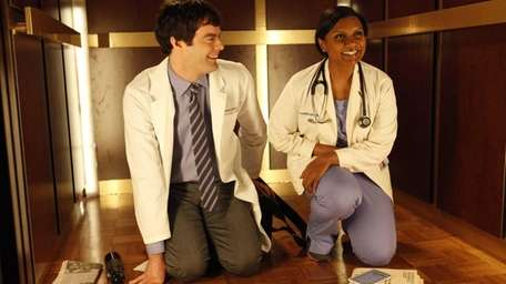 Actors Bill Hader and Mindy Kaling in