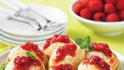 The Raspberry Blintz Ebelskivers can be found in