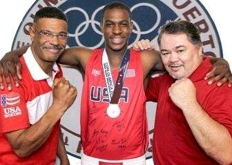 Shirley middleweight Le'Shawn Rodriguez (center), with trainer Eddie