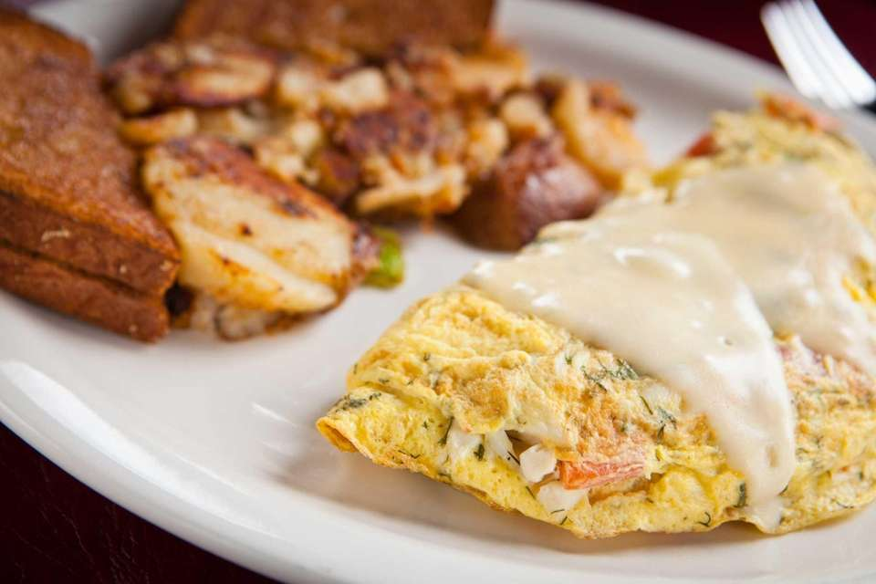 The crab omelet is lush and delicious at