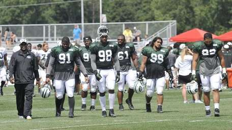 New York Jets players during NFL football training
