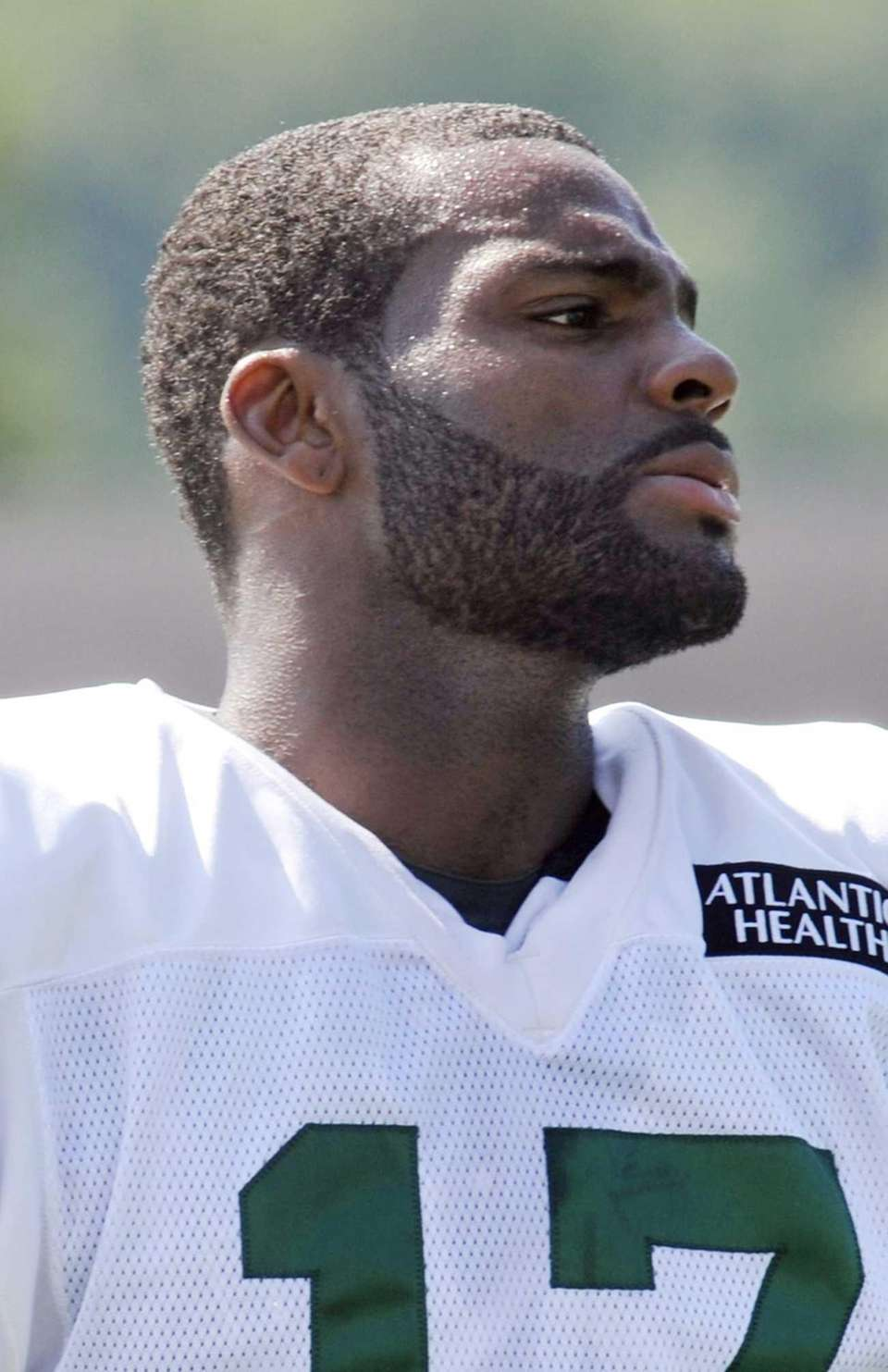 Braylon Edwards (17) looks on during training camp